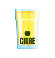 flat cider glass isolated objects white vector image vector image