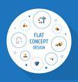 flat icons handcart mitten faucet vector image vector image