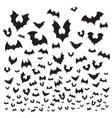flying halloween cave bats flock silhouette vector image vector image