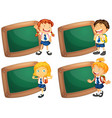 four wooden frames with schoolkids vector image vector image