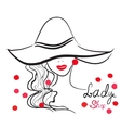hand drawn portrait of stylish girl in hat Good vector image vector image