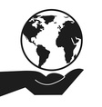 hand earth design vector image vector image