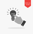 Hand touching light bulb icon reach the idea vector image vector image