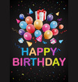 happy birthday greetings on chalkboard vector image vector image