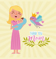 happy woman carrying baby - thank you mom vector image