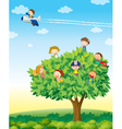 Kids playing on tree vector image vector image