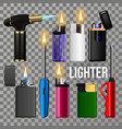 lighter set fire object blank corporate vector image vector image