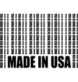 Made in USA text and bar code from same words vector image vector image