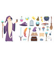 magician tools wizard magic mystery broom potion vector image