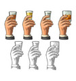 male hand holding glass tequila vodka rum vector image vector image
