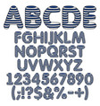 marine blue white alphabet letters numbers vector image