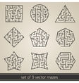 Maze labyrinth set vector image