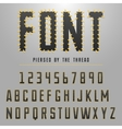 Modern font made by threats typeface for original vector image vector image
