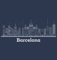 outline barcelona spain city skyline with white