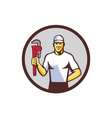 Plumber Holding Monkey Wrench Circle Retro vector image vector image