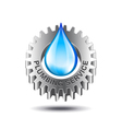 Plumbing service concept with metal gear and water vector image vector image