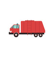 red garbage truck in flat style garbage trash vector image