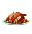 roasted turkey or chicken with vegetables vector image