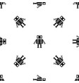 robot with big eyes pattern seamless black vector image vector image