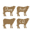 set of cow beef symbols vector image