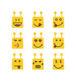 set of yellow chatbot emoji icon vector image vector image