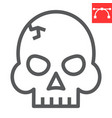 skull line icon video games and death horror vector image vector image