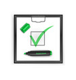 square black clipboard with green check mark icon vector image