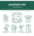 thin line icons - aquarium care tools vector image vector image