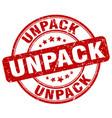 unpack red grunge stamp vector image vector image