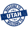 welcome to utah blue stamp vector image vector image
