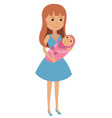 young mother with a newborn baby in her arms vector image vector image