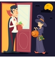 Vintage Happy Smiling Male Vampire Female Witch vector image