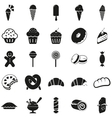 Set of black dessert icons vector image