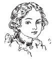 an young lady face vintage engraving vector image vector image