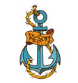 anchor logo sketch of tattoo color on the theme vector image