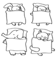 animals sleeping contour vector image vector image