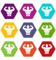 athletic man torso icon set color hexahedron vector image vector image
