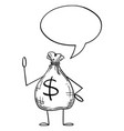 bag money or dollars cartoon character with vector image