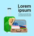 baggage suitcases and bags over background with vector image