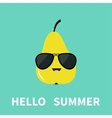 Big yellow pear fruit wearing sunglasses Cute vector image vector image