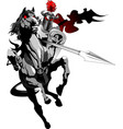 black knight on horseback vector image vector image