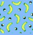 blue seamless banana pattern vector image vector image