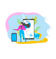 booking flight tickets with mobile app flat vector image vector image