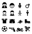 boy icon set vector image vector image