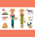 cartoon farm clipart collection with farm workers vector image