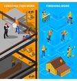 Construction Workers Isometric Banners Set vector image vector image