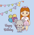 cute mouse happy birthday card vector image vector image