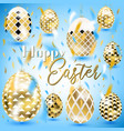 easter vintage golden eggs in the sky vector image vector image