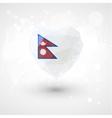 Flag of Nepal in shape diamond glass heart vector image vector image