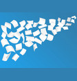 flying paper sheets with curved corners in the sky vector image